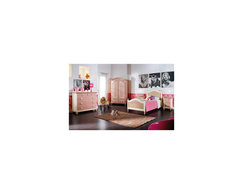 Camera da letto bambino legno massello laccata azzurro for Camera letto legno