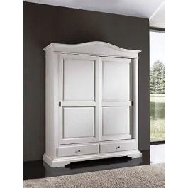 armadio scorrevole 2 ante legno massello laccato bianco x