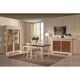 SHOWCASE MOBILE LIBRARY INTARSIATALEGNO IVORY AND WALNUT DESIGN VENETO