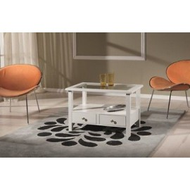 WOODEN TABLE SQUARE LOW GLOSS WHITE
