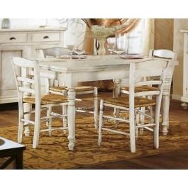 Tavolo legno rettangolare allungabile laccato bianco anticato for Tavolo bianco laccato
