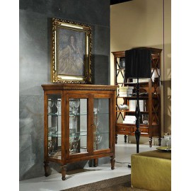 CABINET WITH INLAID WOOD AND GLASS WITH LIMELIGHT LIBRARY 2 DOORS