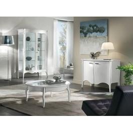 Sala Giorno Moderna.Vetrina Moderna Bomabata Laccato Bianco Legno Massello X Sala Salotto