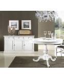 Credenza country provenzale laccata bianca legno for Consolle allungabile laccata bianca