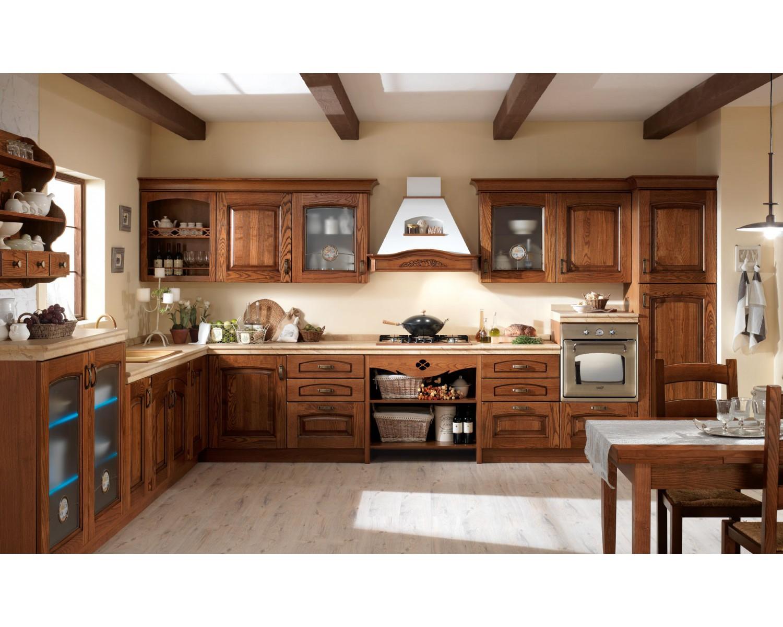 Cucina completa classica elena anta legno massello mt 3 60 - Soggiorno legno massello ...