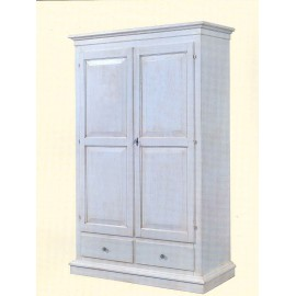 CABINET ANTIQUE AGED WHITE WOOD - COUNTRY STYLE