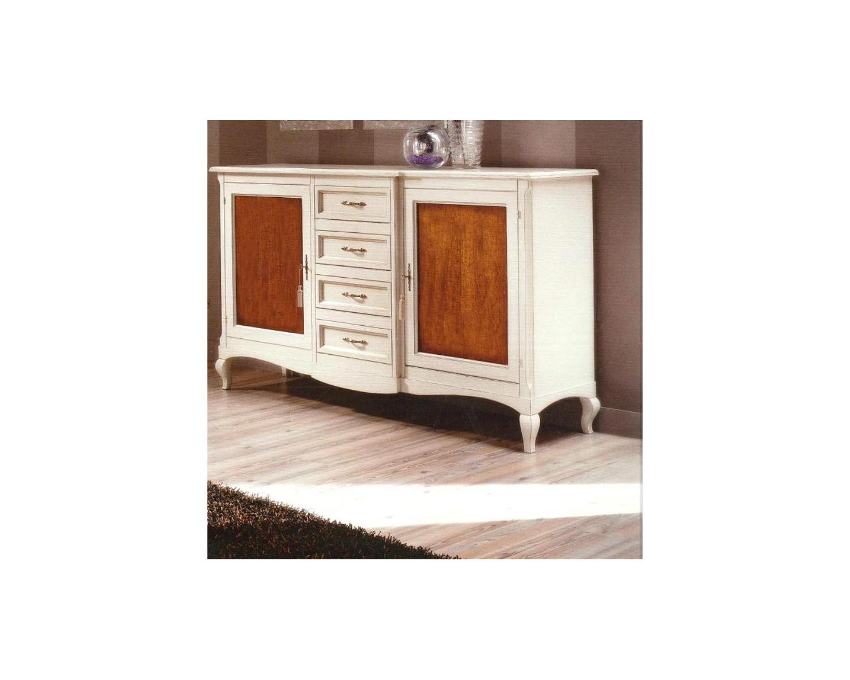 Credenza Da Cucina Legno Noce : Credenza bicolore legno massello bianco anticato e noce chiaro