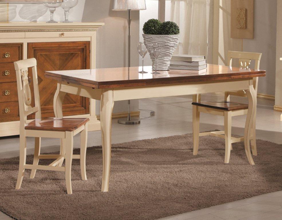 Tavoli In Legno Massello : Tavolo legno bicolore provenzale 180x90 allungabilelegno massello