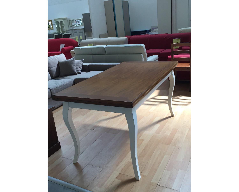 Tavolo legno bicolore anticato provenzale 100x100 allungabilelegno