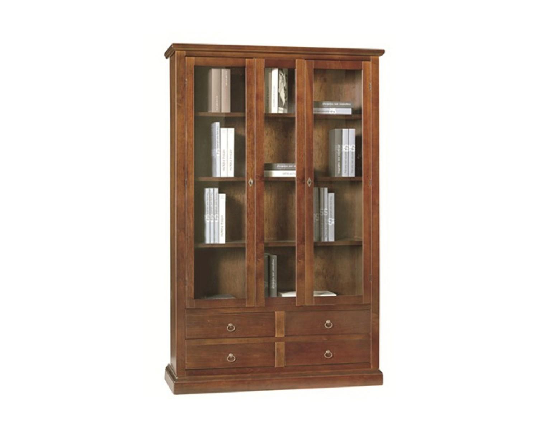 Credenza Con Vetrina Stile Country : Vetrina libreria in legno colore noce scuro xh