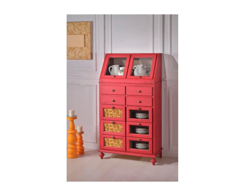 Dispensa in legno cerata anticata rosso antico vari colori for Dispensa legno