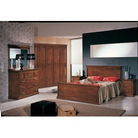 BEDROOM FULL WOOD BED COMO 'MIRROR BEDSIDE CABINET