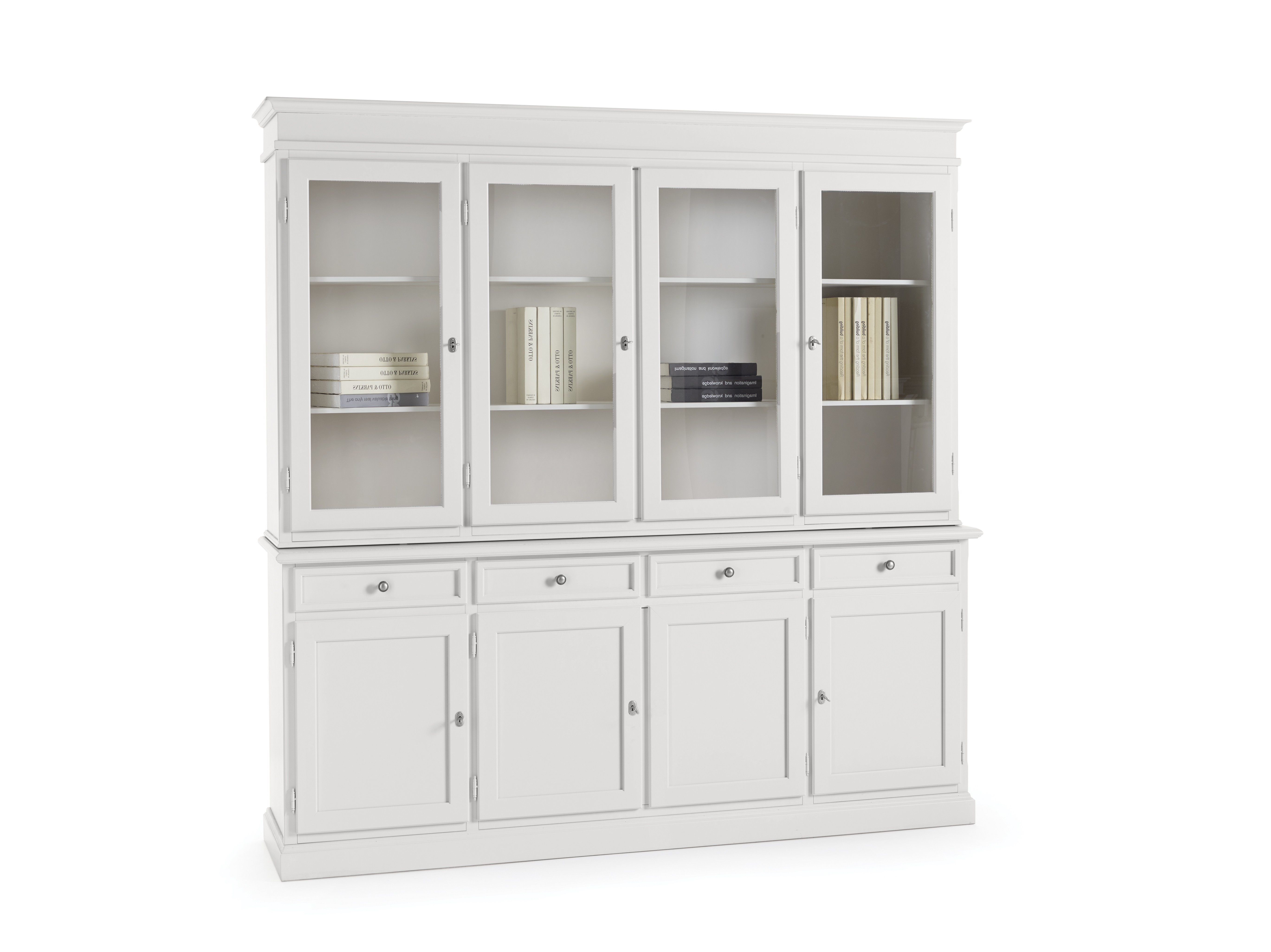 Vetrine E Alzate Moderne Design.Credenza Vetrina Base E Alzata In Legno Colore Bianco