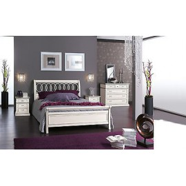 BEDROOM GLOSS WHITE WOOD BED COMO 'COMODINO