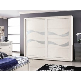 CUPBOARD SLIDING DOORS WOOD GLOSS WHITE SILVER LEAF