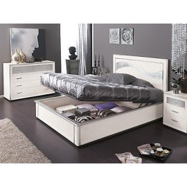 BED CONTAINER GLOSS WHITE SILVER LEAF WOOD