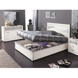 BETT CONTAINER GLOSS WEISS SILVER LEAF HOLZ
