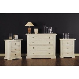 COMO '4 drawers and 2 COMODINI PAINTED IVORY ANTIQUE