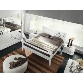 DOUBLE BED MODERN GLOSS WHITE WOOD