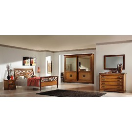 DOUBLE BED-WALNUT CABINET -COMO-MIRROR-COMODINI WOOD
