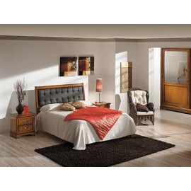 DOUBLE BED MODERN UPHOLSTERED LEATHER COLOR WALNUT WOOD