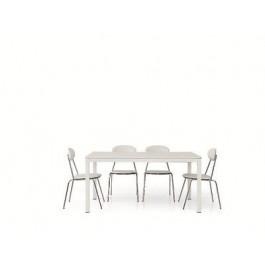 Tavolo legno frassinato bianco moderno allungabile 160x90 for Tavolo cucina moderno bianco