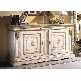 TAM cupboard DRESSER WITH WOOD DECORATED MATT WHITE GOLD