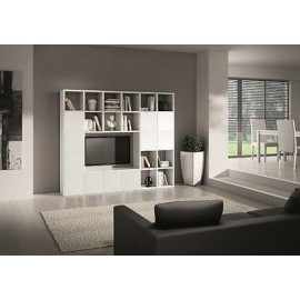 LIBRARY WALL MODERN LIVING TV STAND WHITE ASH WOOD MODULAR