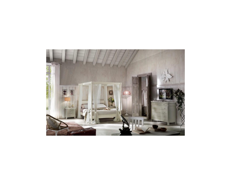 Letto a baldacchino in legno massello col bianco o avorio - Letto a baldacchino bianco ...
