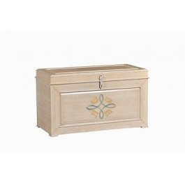 BAULE CASSAPANCA LEGNO DECORATO A MANO DIPINTO ANTICATO COUNTRY COLLECTION