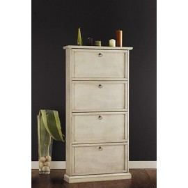 MOBILE SHOE CABINET 4 DOORS PAINTED IVORY ANTIQUE