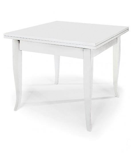 Tavolo legno quadrato allungabile col bianco opaco for Tavolo quadrato allungabile legno