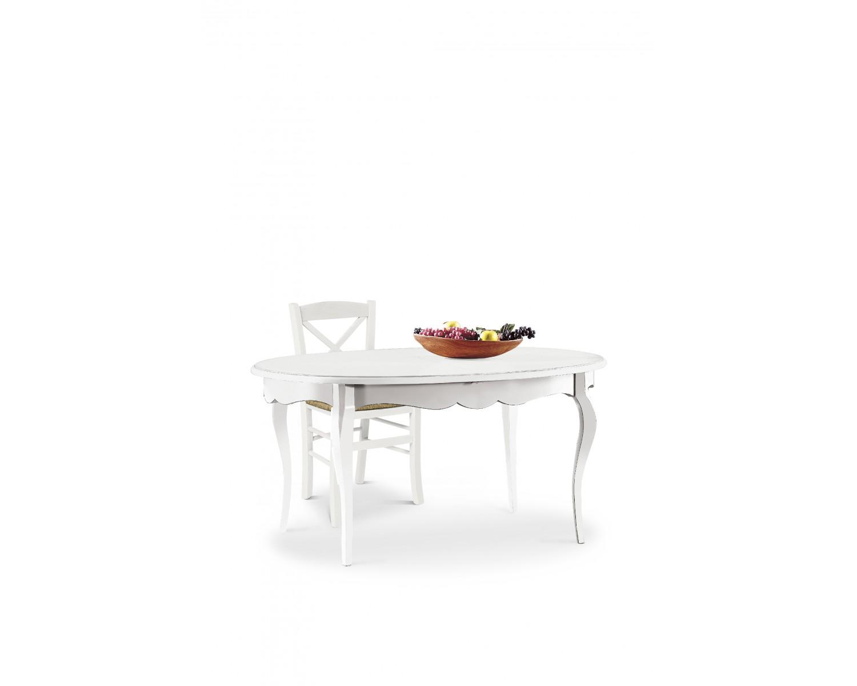 Tavolo ovale allungabile in legno bianco opaco for Tavolo ovale bianco allungabile