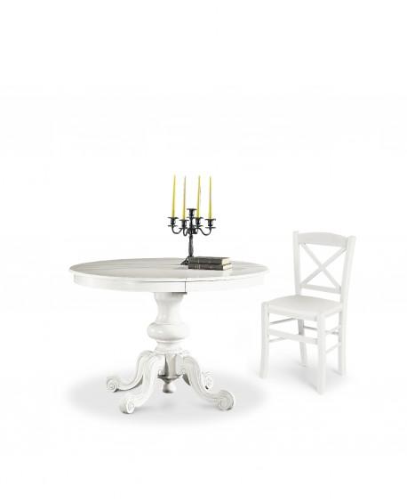 Tavolo rotondo allungabile in legno col bianco opaco for Tavolo bianco rotondo allungabile