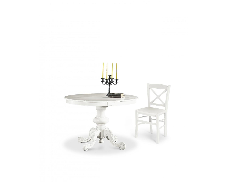 Tavolo rotondo allungabile in legno col bianco opaco - Tavolo rotondo bianco allungabile ...