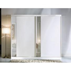 Armadio Ad Ante Scorrevoli A Specchio.Armadio 2 Ante Scorrevoli Con Specchio Bianco Come Foto Legno Massello