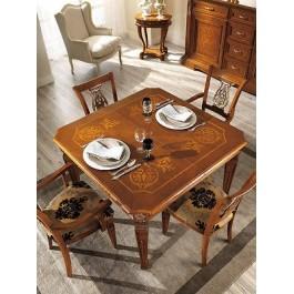 Tavolo In Legno Intarsiato.Tavolo Quadrato Allungabile Legno Massello Intarsiato Produzione Veneta