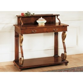 2 DRAWER CONSOLE CARVED WOOD