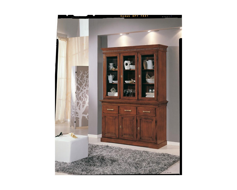 Credenza Con Cristalliera : Cristalliera credenza legno colore noce con intarsio soggiorno