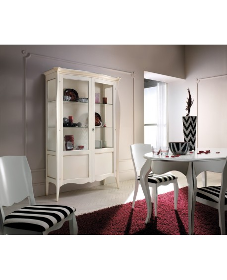 SHOWCASE MOBILE LIBRARY IVORY LACQUERED SOLID ROUNDED