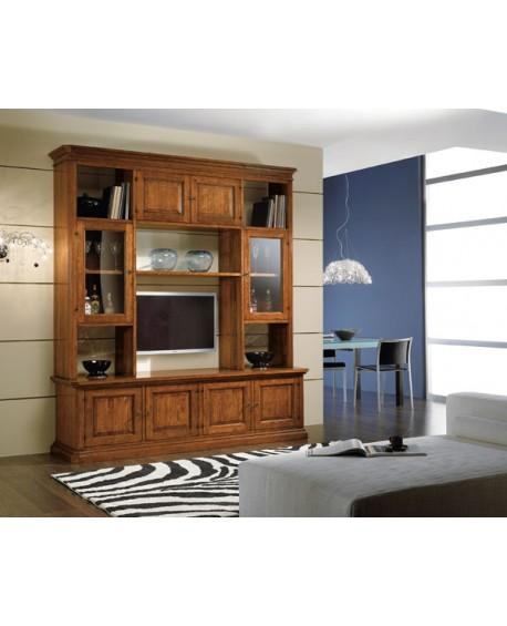 PARETE PORTA TV IN LEGNO LIBRERIA SOGGIORNO L 210 P 60 H 240