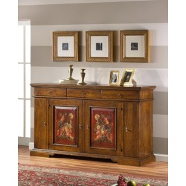 CREDENZA WALNUT ANTICATO DOORS DECORATED L 201 P 52 H 114