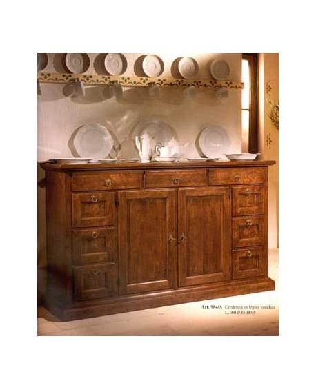 Kuchenschrank Massivholz Holz 2 Turen Und Schubladen 9 L 160 P 45 H 95
