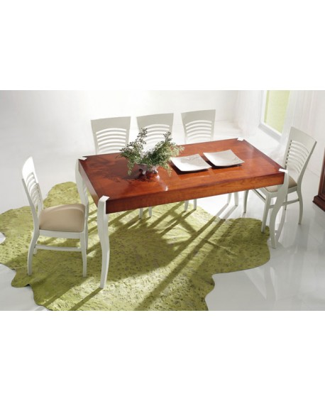 TABLE TWO TONE WHITE PAINTED WOOD