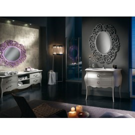 MOBILE BATHROOM FURNITURE DESIGN MIRROR WITH SWAROVSKI LACCATO TORTORA VENETO