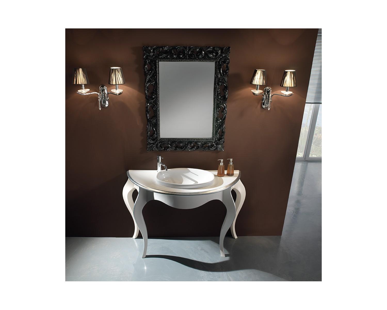 Mobile bagno arredo legno massello artigianale laccato bicolore con specchiera - Verniciare mobile laccato ...