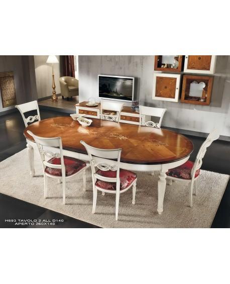 Tavolo rotondo allungabile bicolore legno massello for Tavolo bianco rotondo allungabile