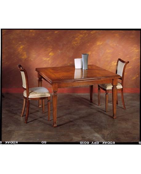 Tavolo In Legno Quadrato Allungabile.Tavolo Quadrato Allungabile Legno Massello Intarsiato L 128 208