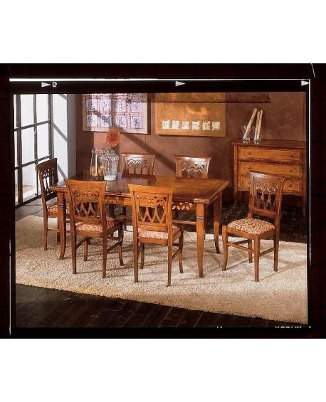 Tavolo rettangolare allun intarsiato legno massello for Tavolo legno intarsiato