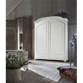 CABINET 2 DOORS SOLID WOOD WHITE ANTICATO - L. 181 - P. 61 - H. 224
